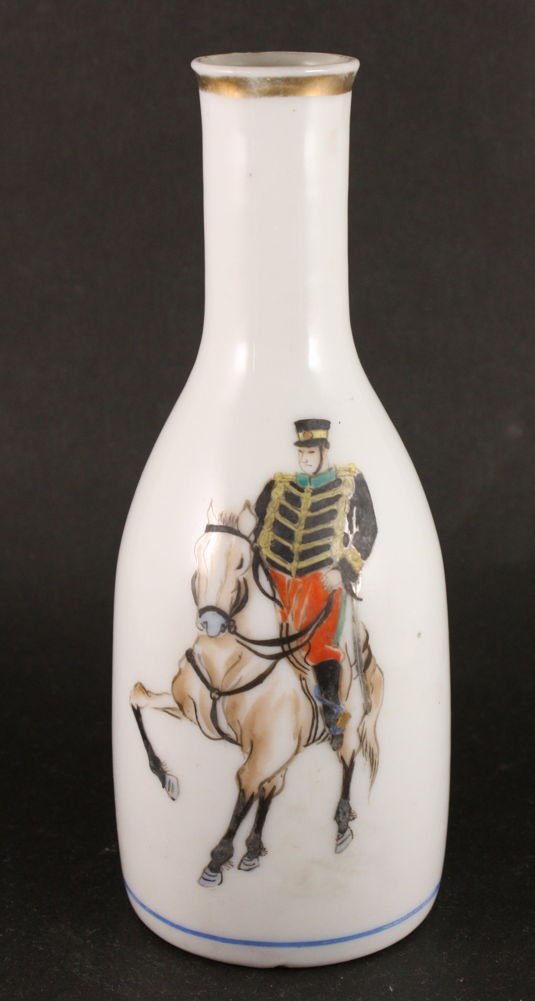 Very Rare Antique Japanese Military Meiji Era Hand Painted Cavalry Soldier Army Sake Bottle