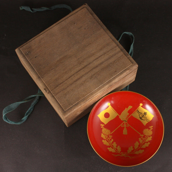 Russo Japanese War Golden Kite Flags Victory Lacquer Army Sake Cup