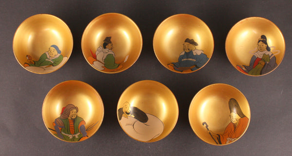 Rare Antique Japanese Military China Incident Seven Lucky Gods Jeju Island Lacquer Sake Cup Set