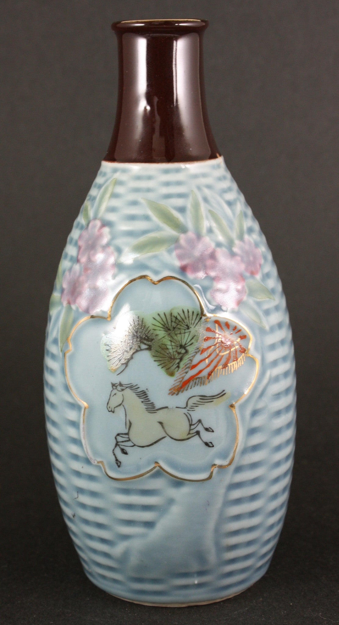 Antique Japanese Military Horse Blossoms Transport Army Sake Bottle