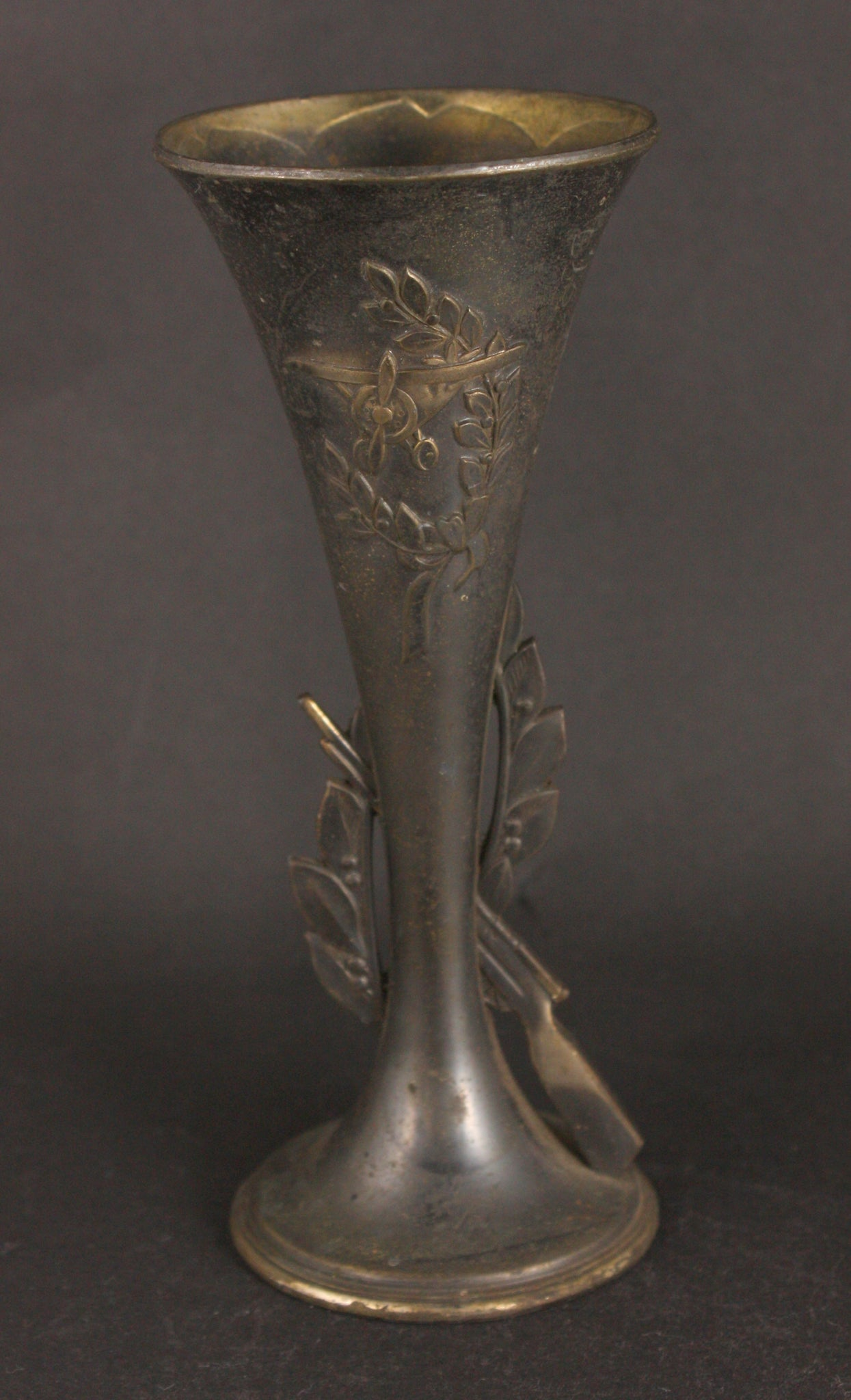 Antique Japanese Military Biplane Rifle Metal Vase