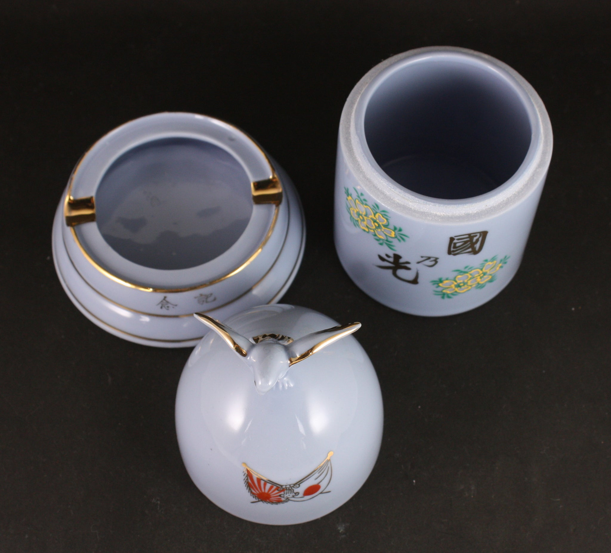 Very Rare Antique Japanese Military Shell Shaped Tobacco Container and Ashtray Set