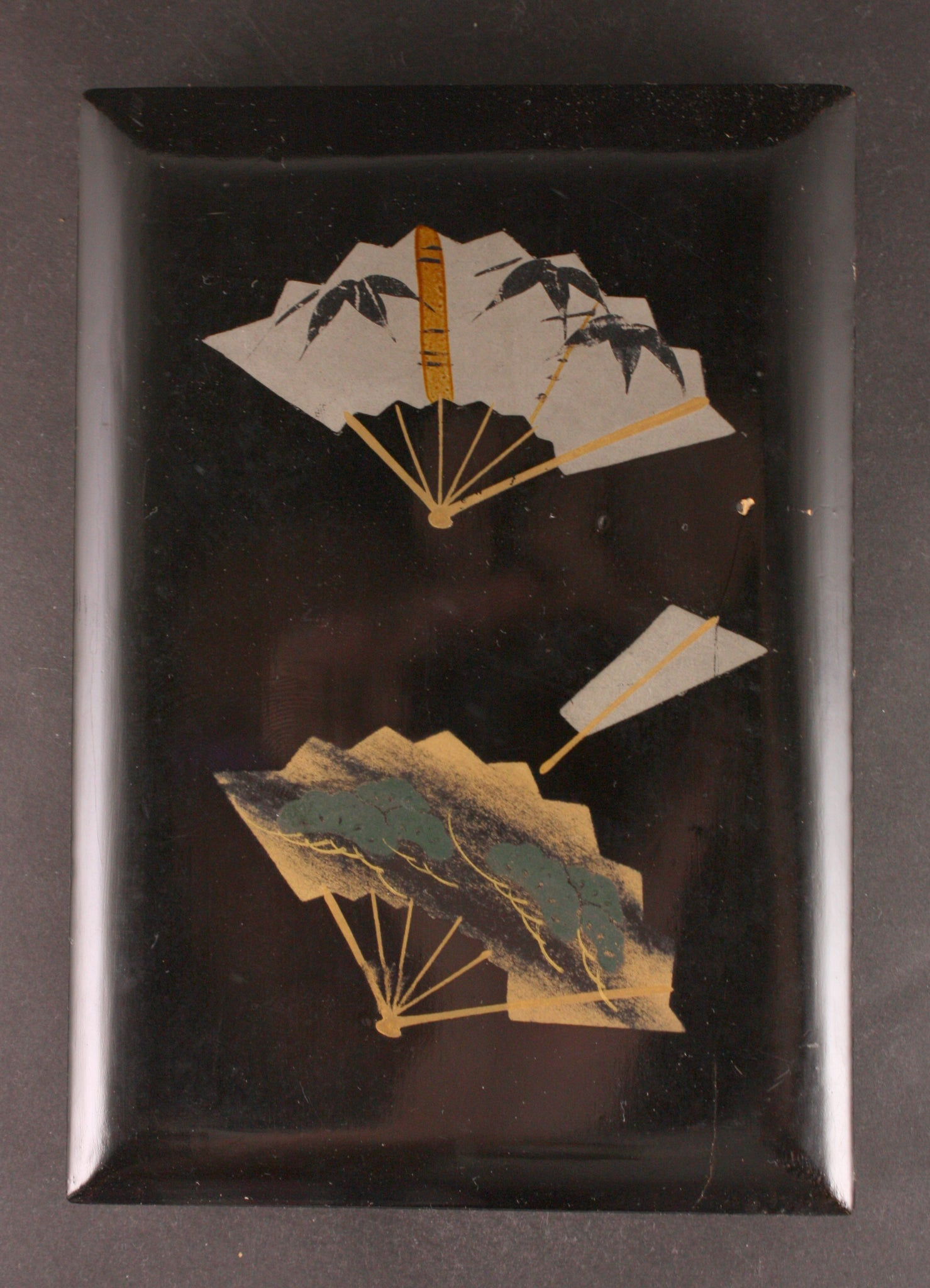 Antique Japanese Military Fans Lacquer Navy Postcard Box