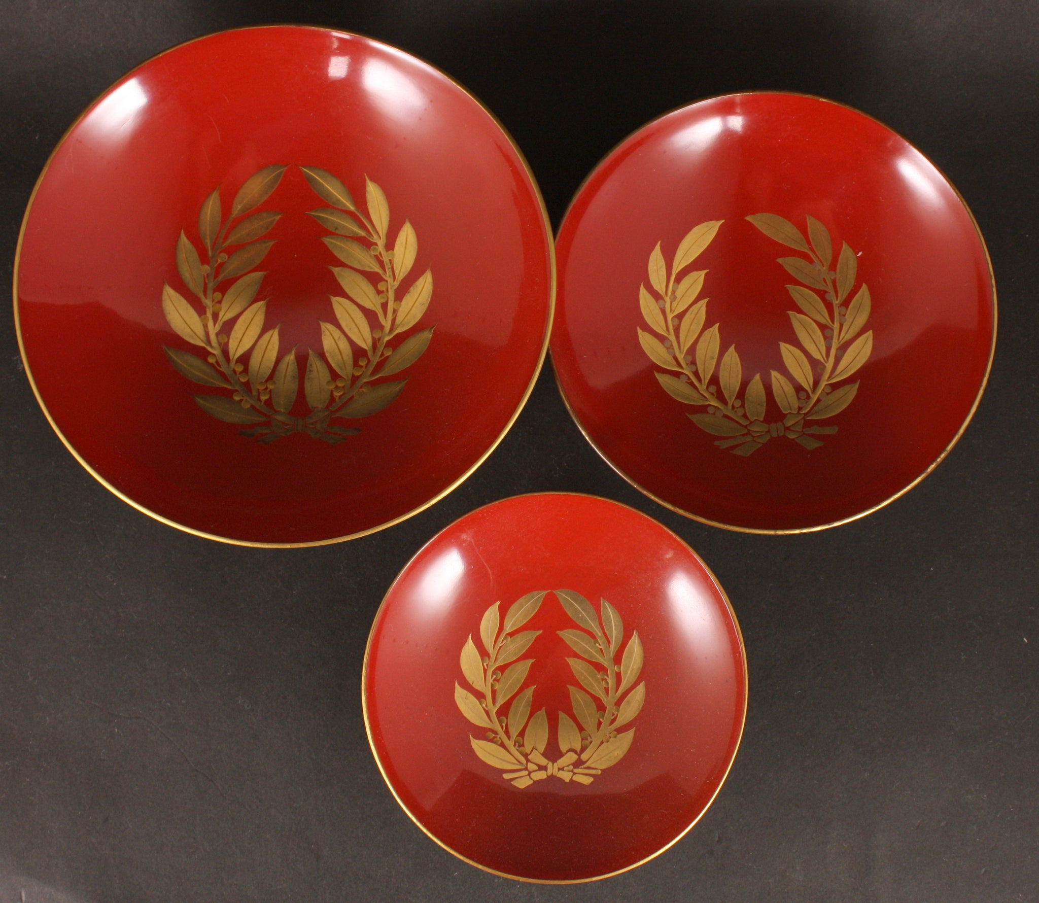Set of 3 Russo Japanese Military Victory Wreath Lacquer Army Sake Cup