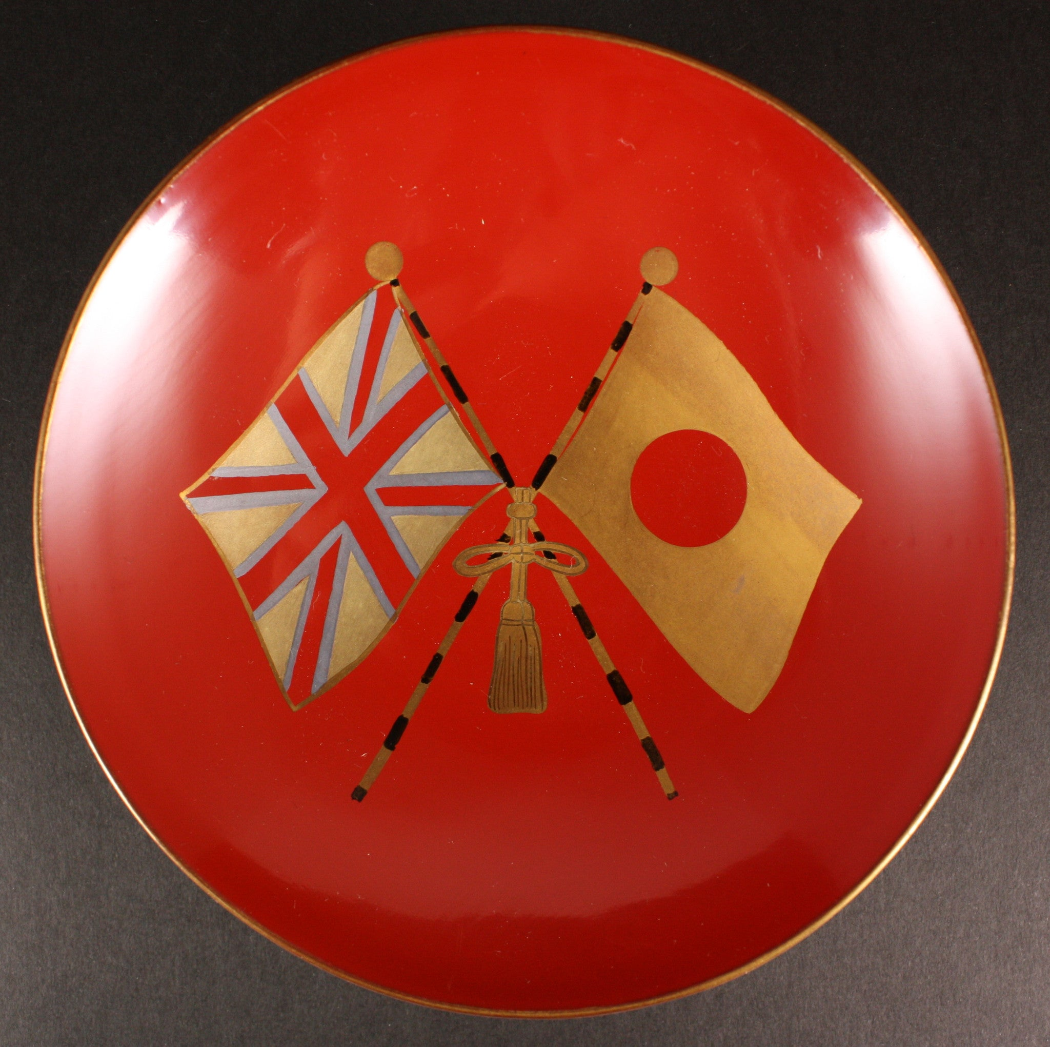 Rare Japanese 1922 Prince Edward Visit Welcoming Rally Lacquer Sake Cup