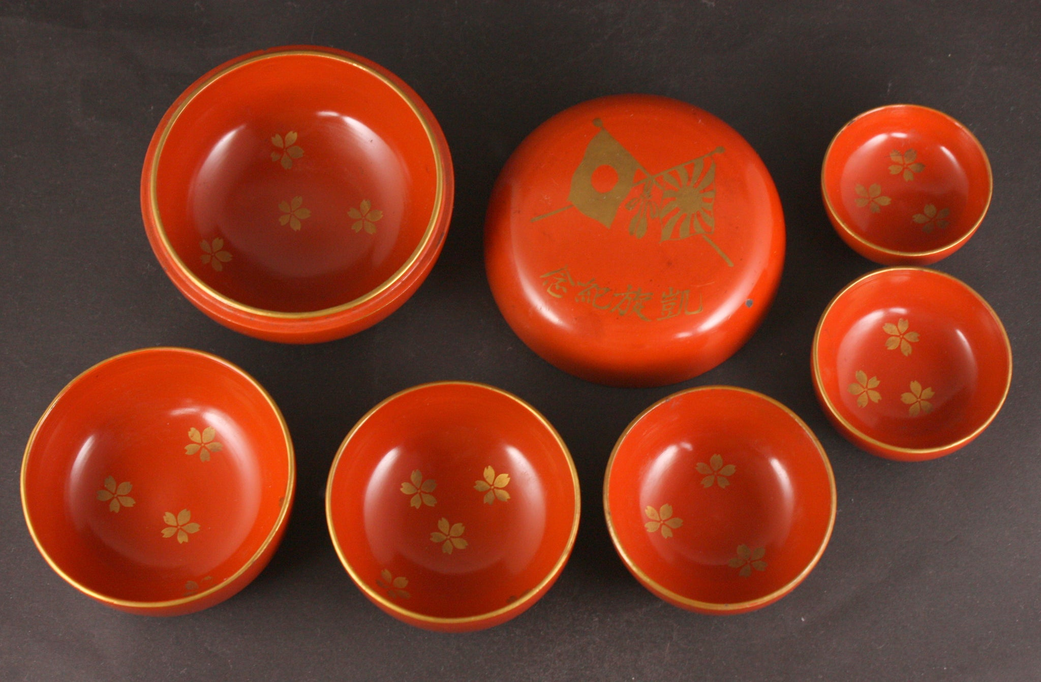 Russo Japanese War Military Matryoshka Doll Lacquer Sake Cups