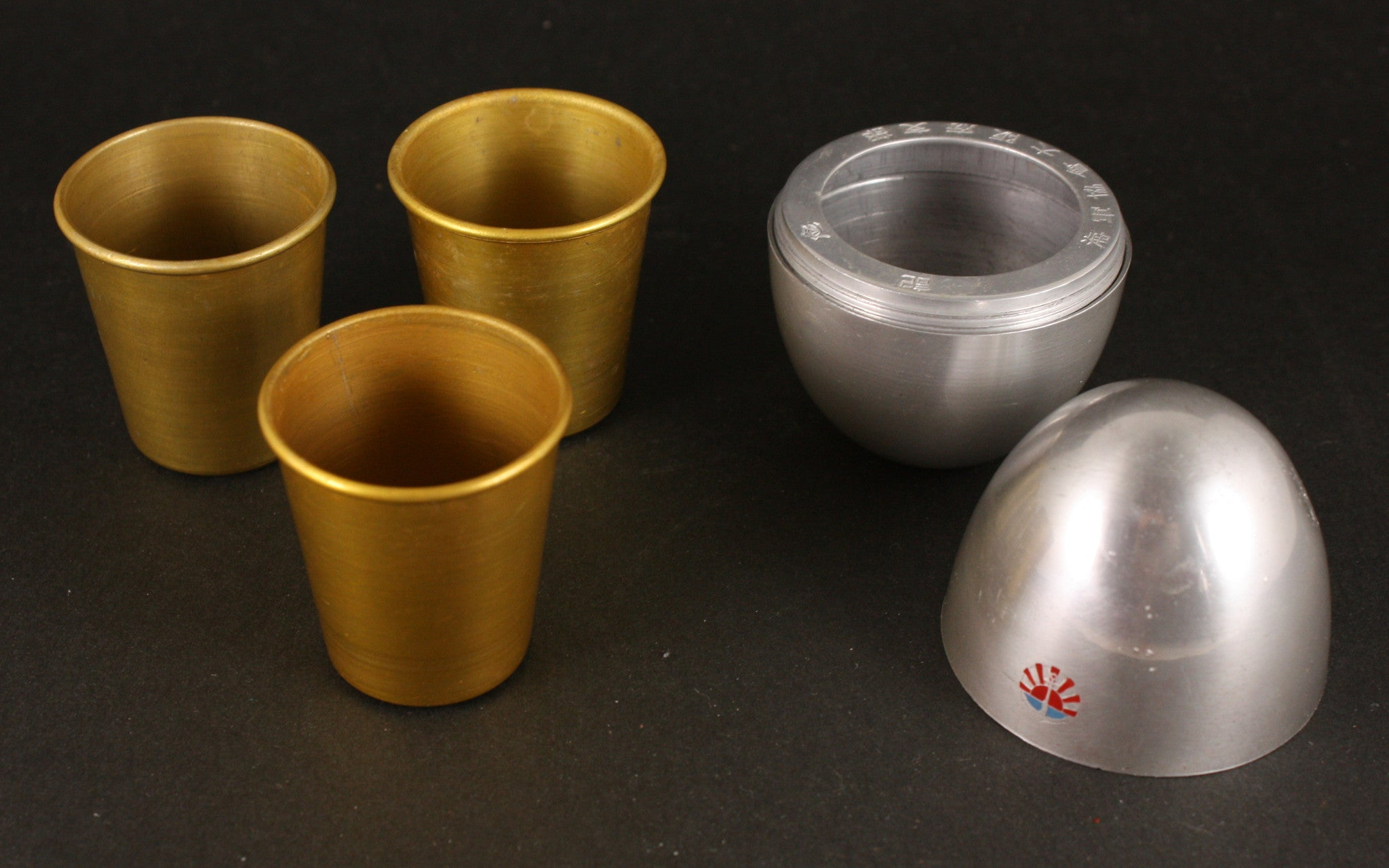 Antique Japanese Aluminium Navy Association Egg Shaped Portable Sake Cups