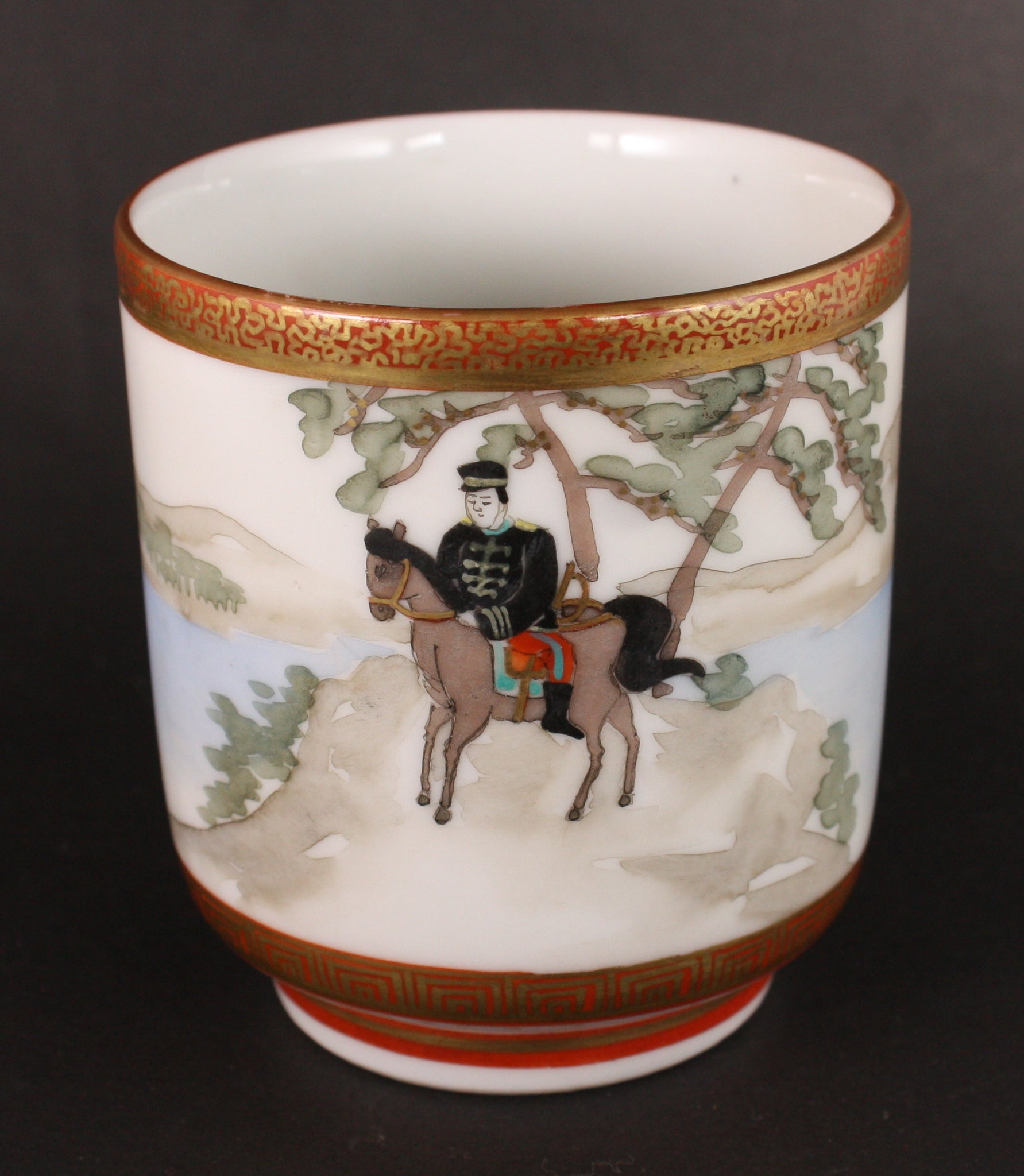 Very Rare Antique Japanese Military Cavalry Soldier Kutani Army Sake Cup