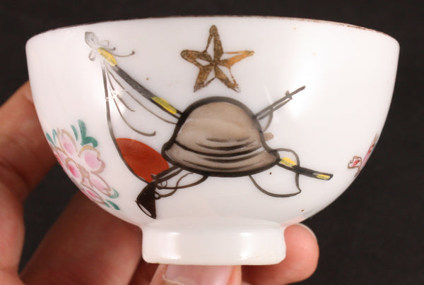 Antique Japanese Military Helmet Rifle Blossom Tea Cup