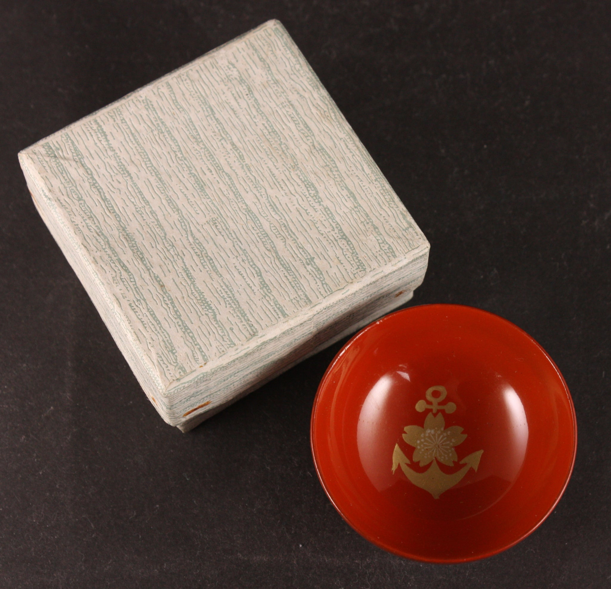 Antique Japanese Military Anchor Blossom Lacquer Boxed Navy Sake Cup