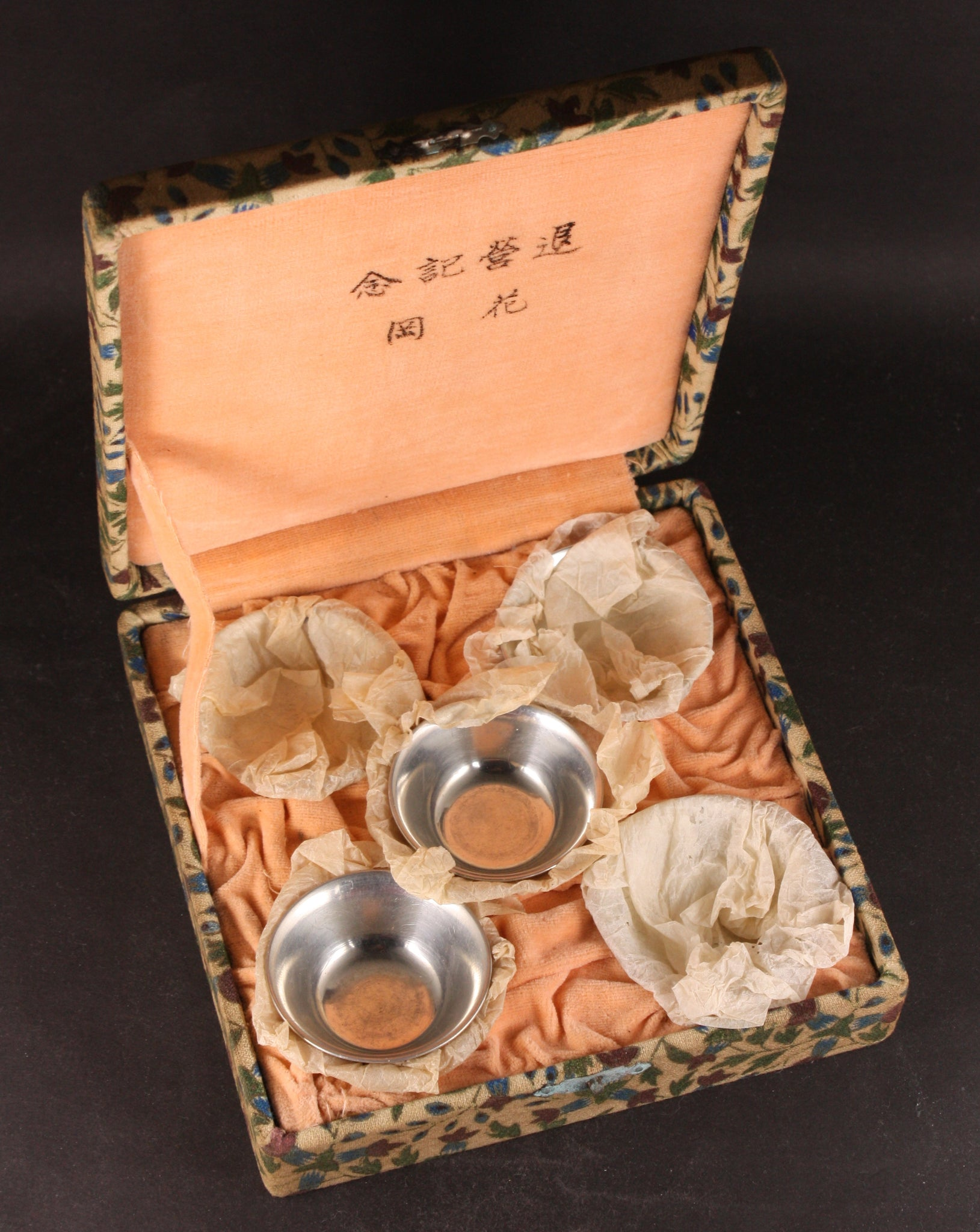 Rare Boxed Set of 5 Antique Japanese Military Infantry Pewter Army Sake Cups