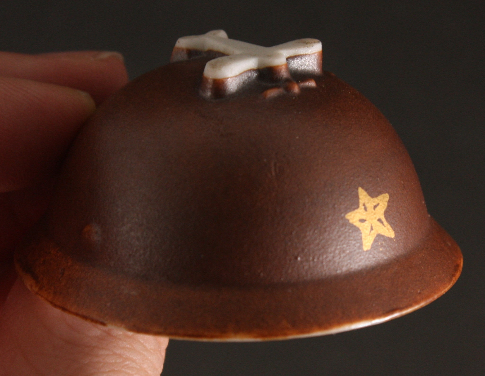 Antique Japanese Military Manchuria Dispatch Plane Based Helmet Army Sake Cup