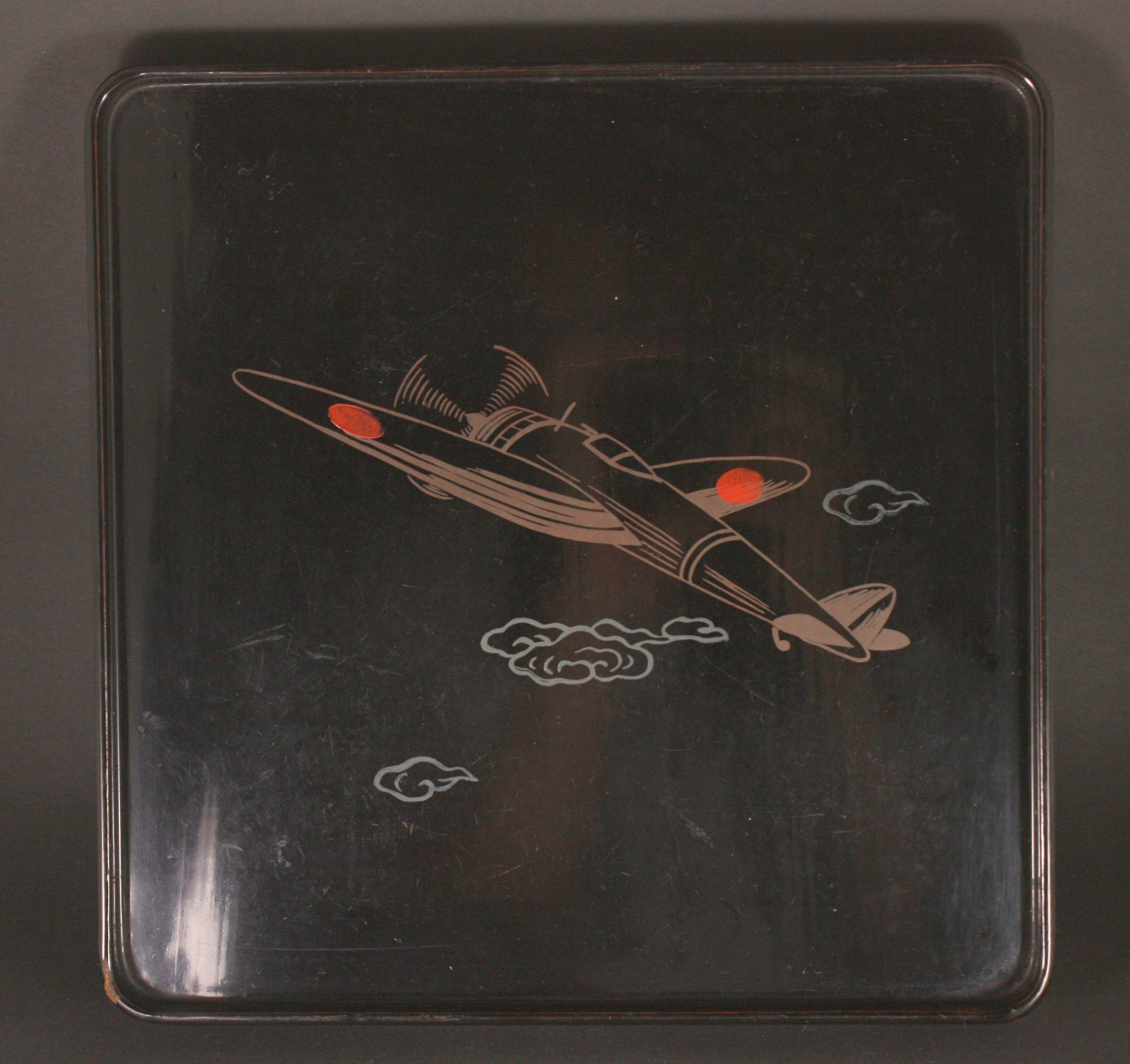 Very Rare Antique Japanese Military WW2 1943 Fighter Plane Army Lacquer Tray