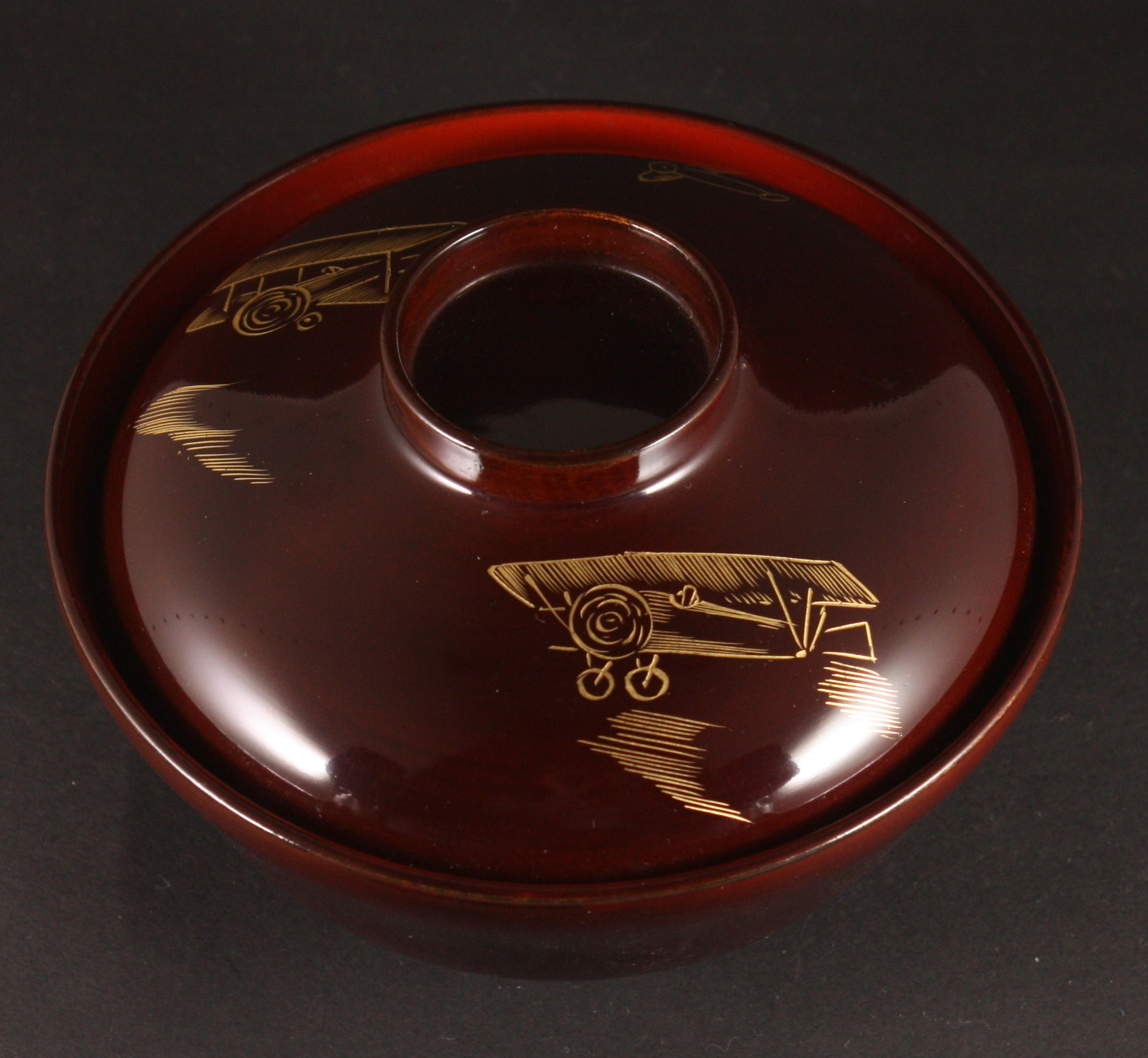Rare Antique Japanese Military Biplane Army Air Corps Lacquer Lidded Rice Bowl