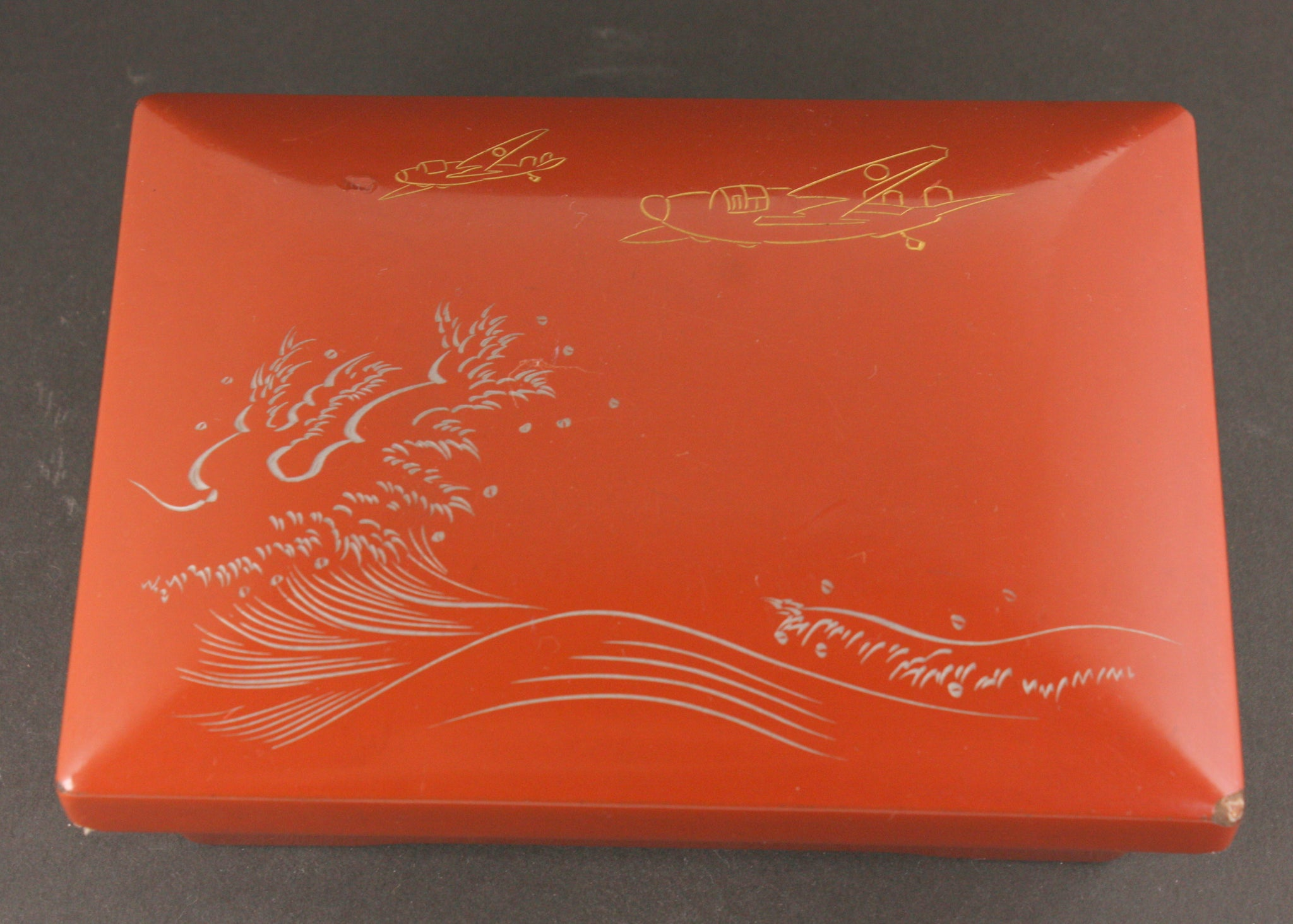 "Very Rare Antique Japanese Military ""Nell"" Over Waves Airmen Lacquer Bento Box"