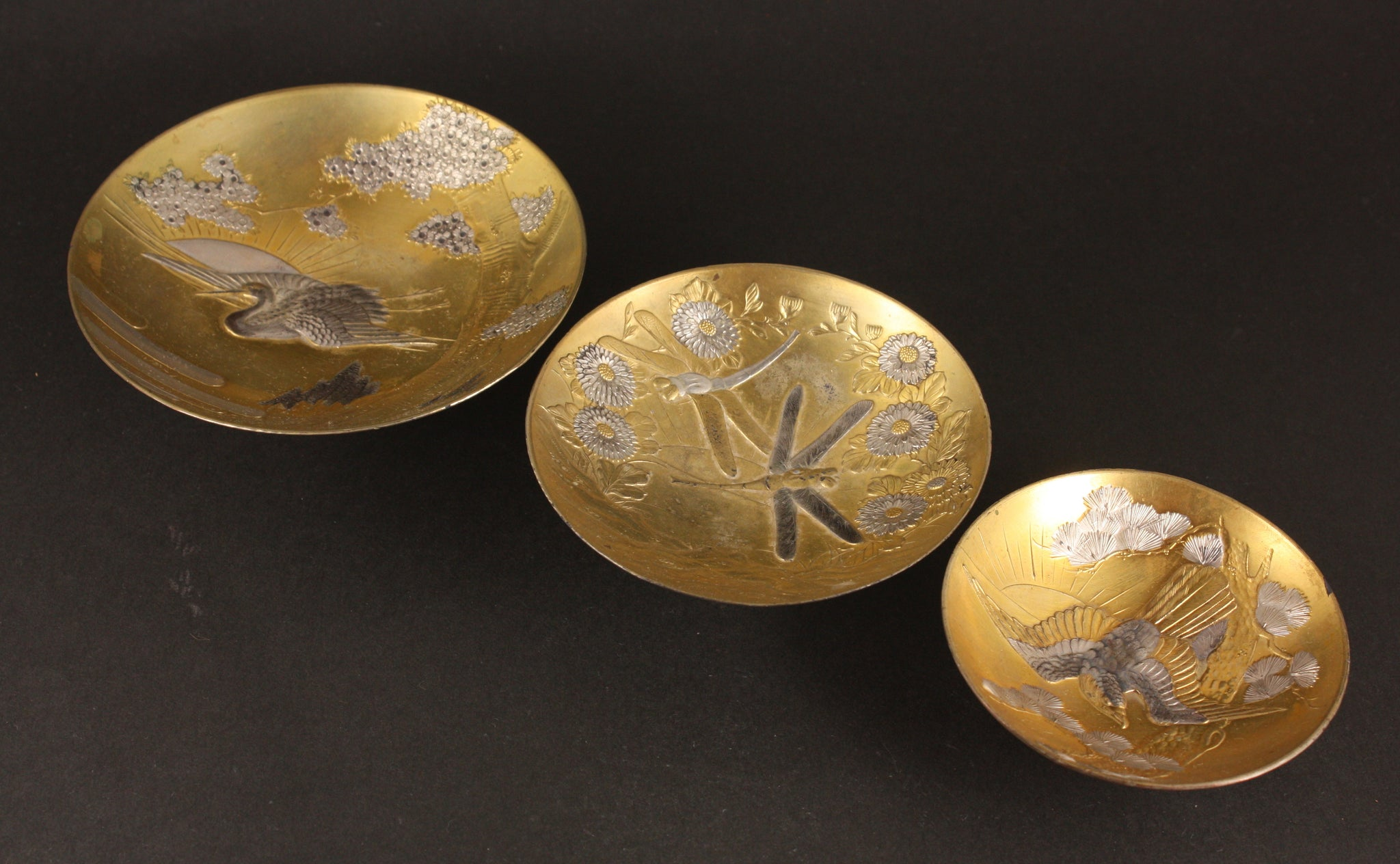 Exquisite Russo Japanese War Victory Metal Sake Cup Set