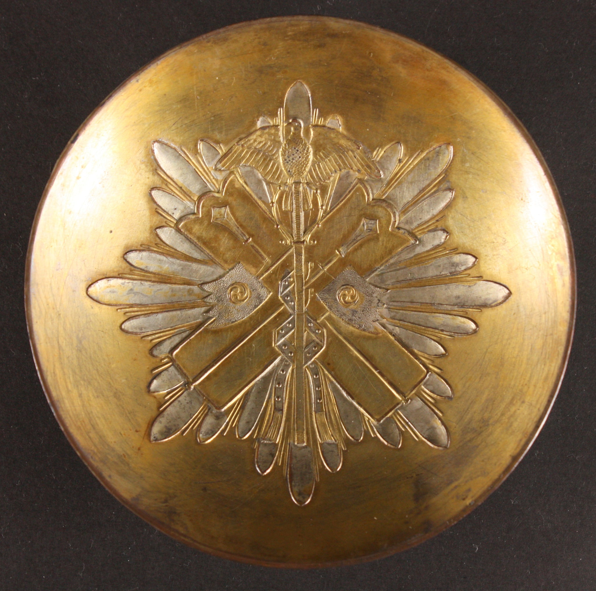 Antique Japanese Military Order of Golden Kite Metal Army Sake Cup