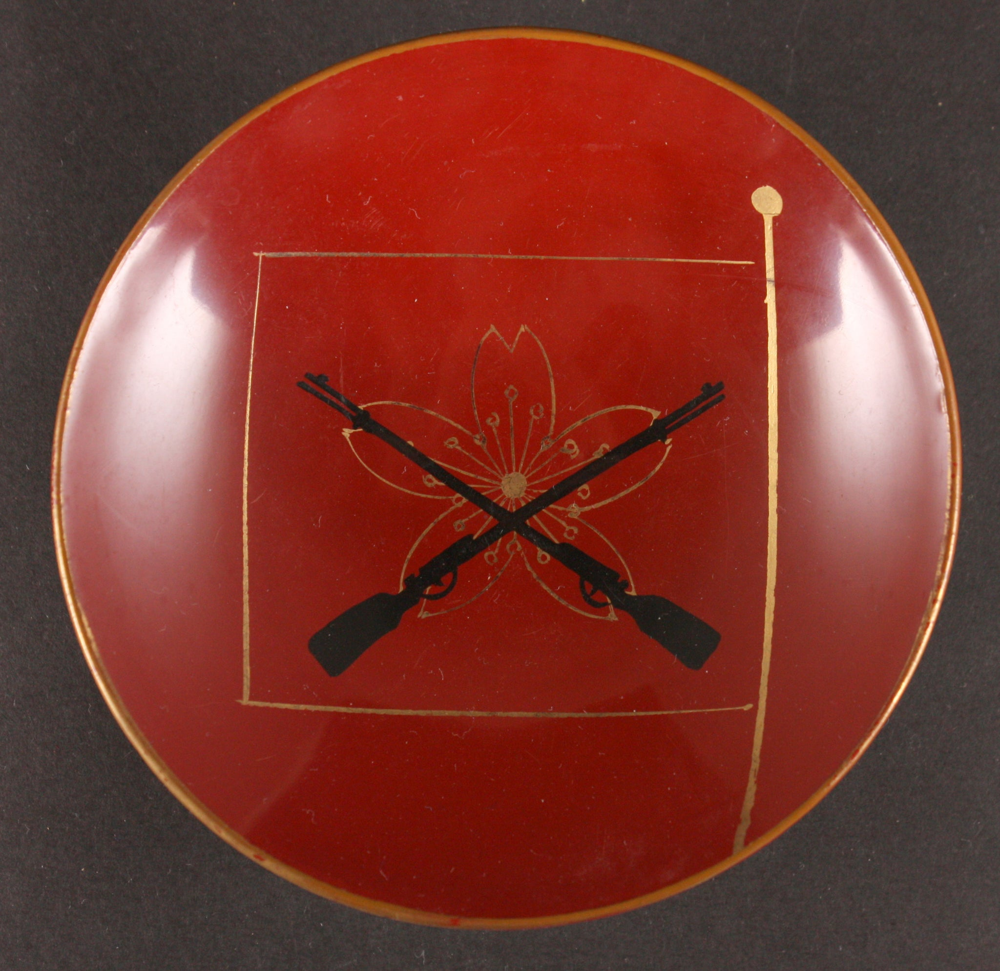 Antique Japanese Military 1913 Sharpshooter Award Lacquer Army Sake Cup