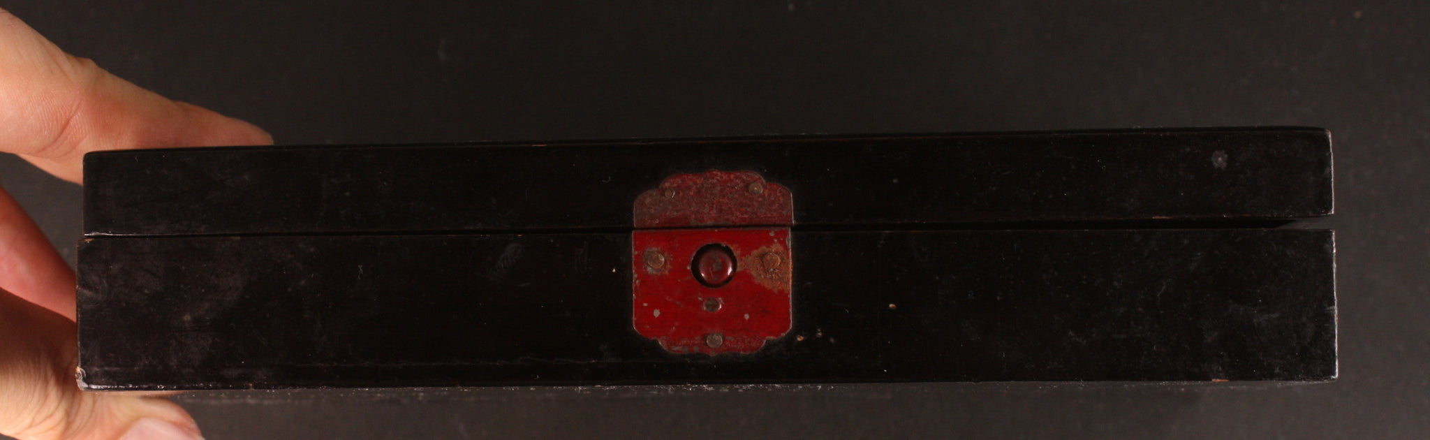 Antique Japanese Military Cannon Plane Flag Poem Navy Lacquer Box