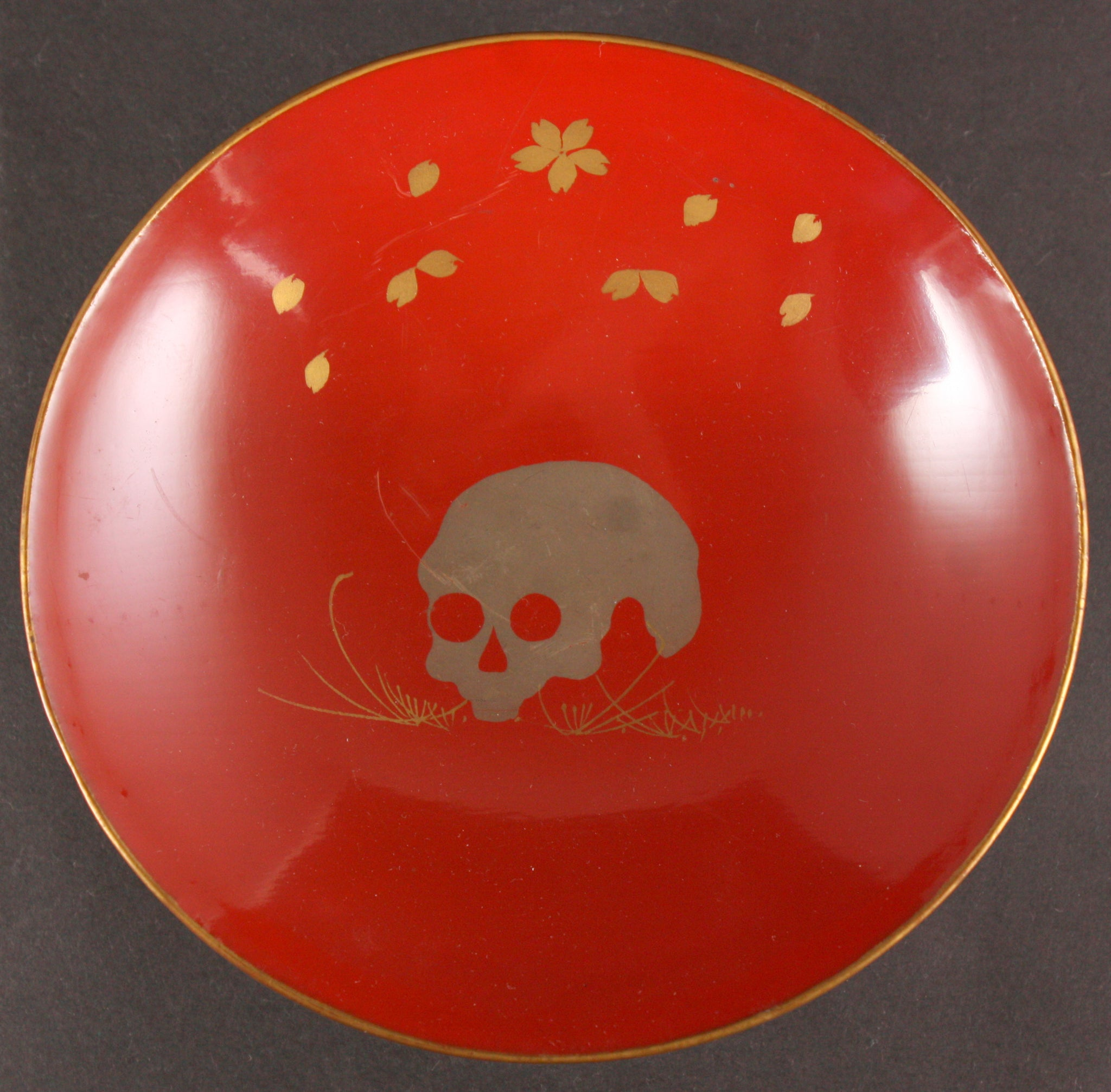 Very Rare Russo Japanese War Skull on Grass Lacquer Army Sake Cup