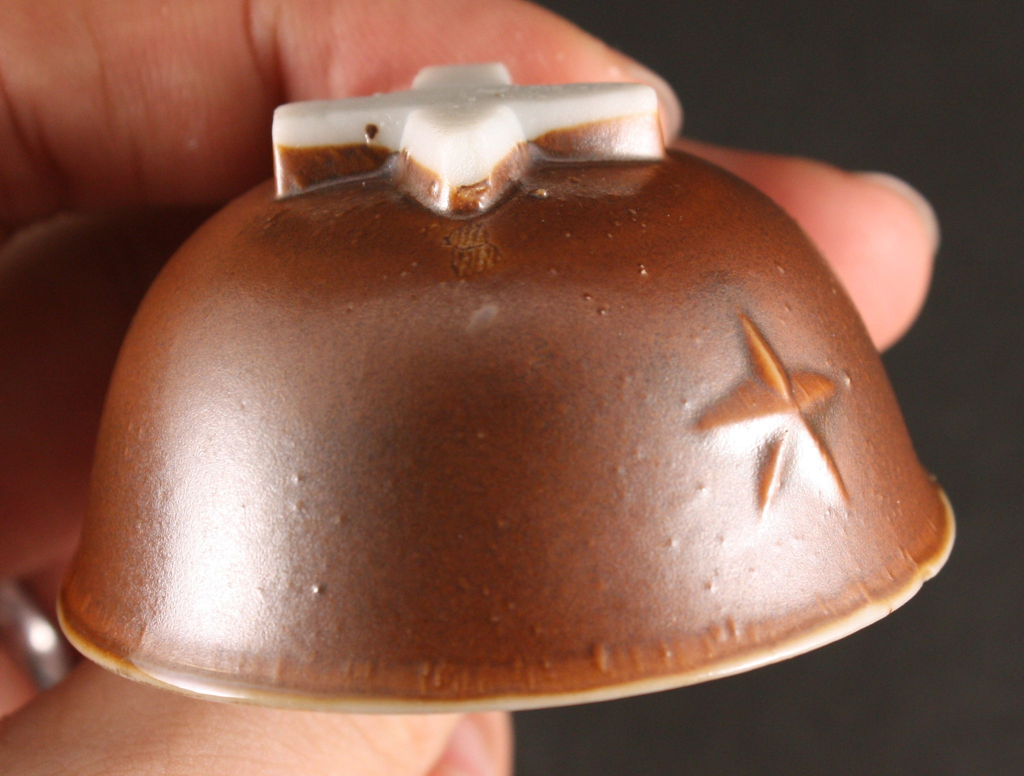 Antique Japanese Military Prone Soldier Attack Helmet Army Sake Cup