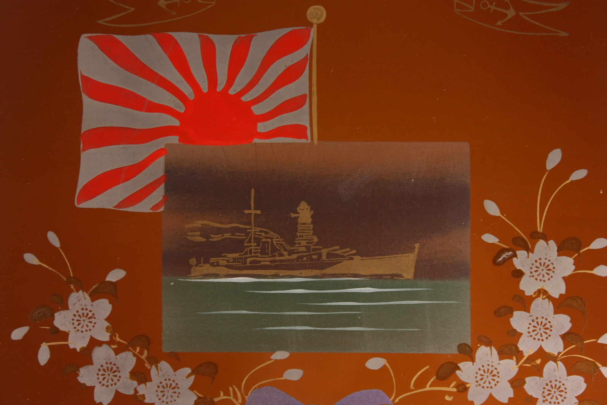 Antique Japanese WW2 Battleship Nagato Navy Commemoration Lacquer Tray