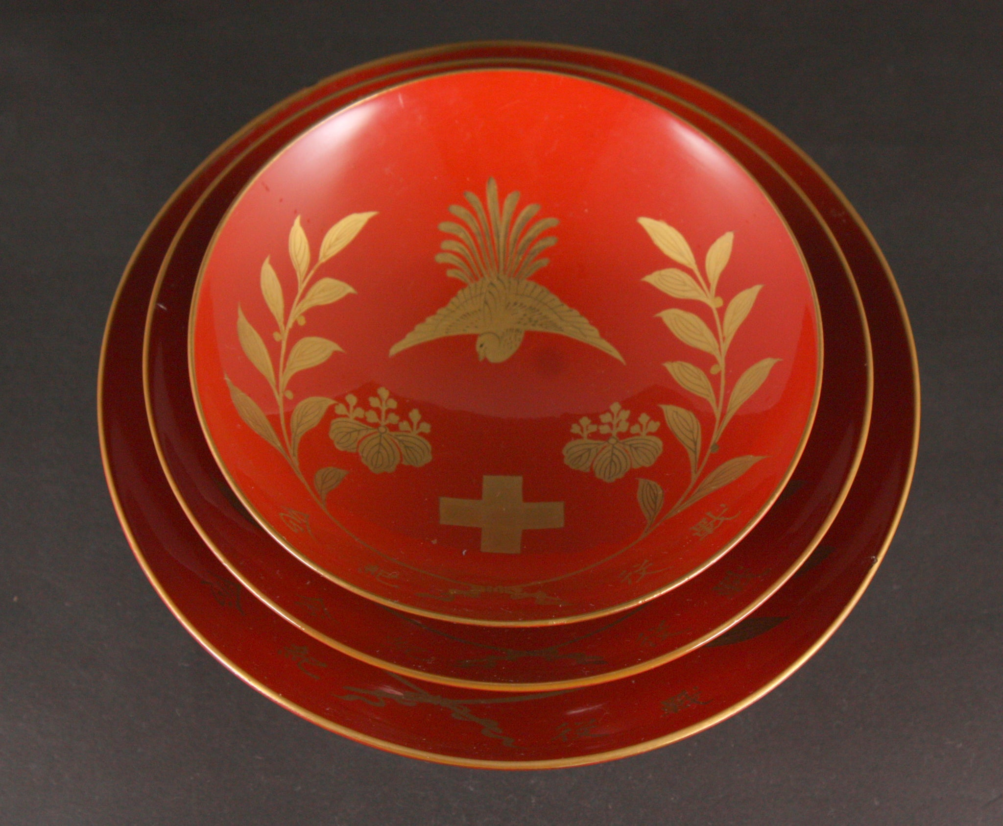Russo Japanese War Victory Red Cross Association Medic Lacquer Army Sake Cups