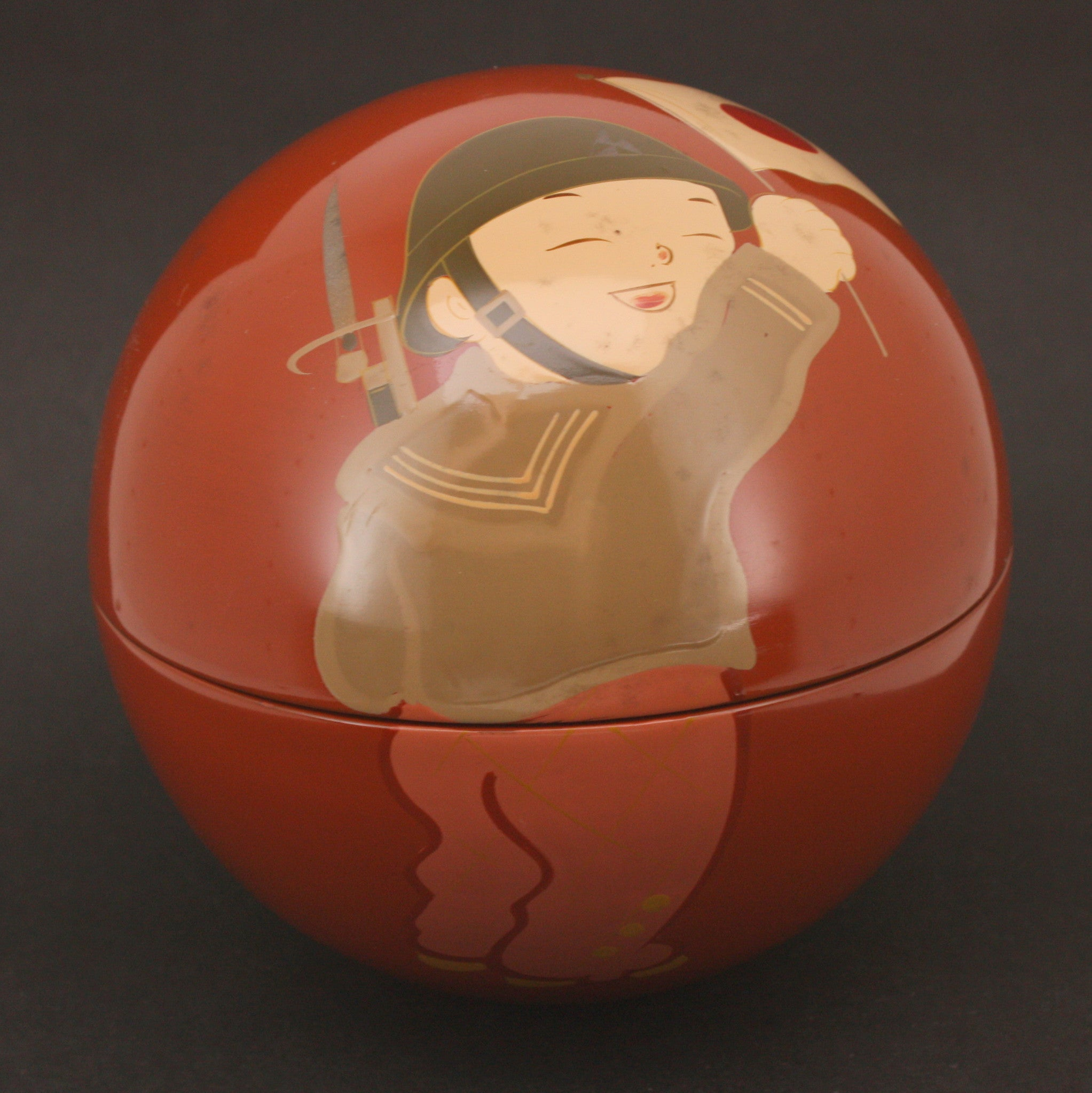 Unusual 1940 Japanese 2600th Imperial Year Tennis Match Boy Soldier Lacquer Box
