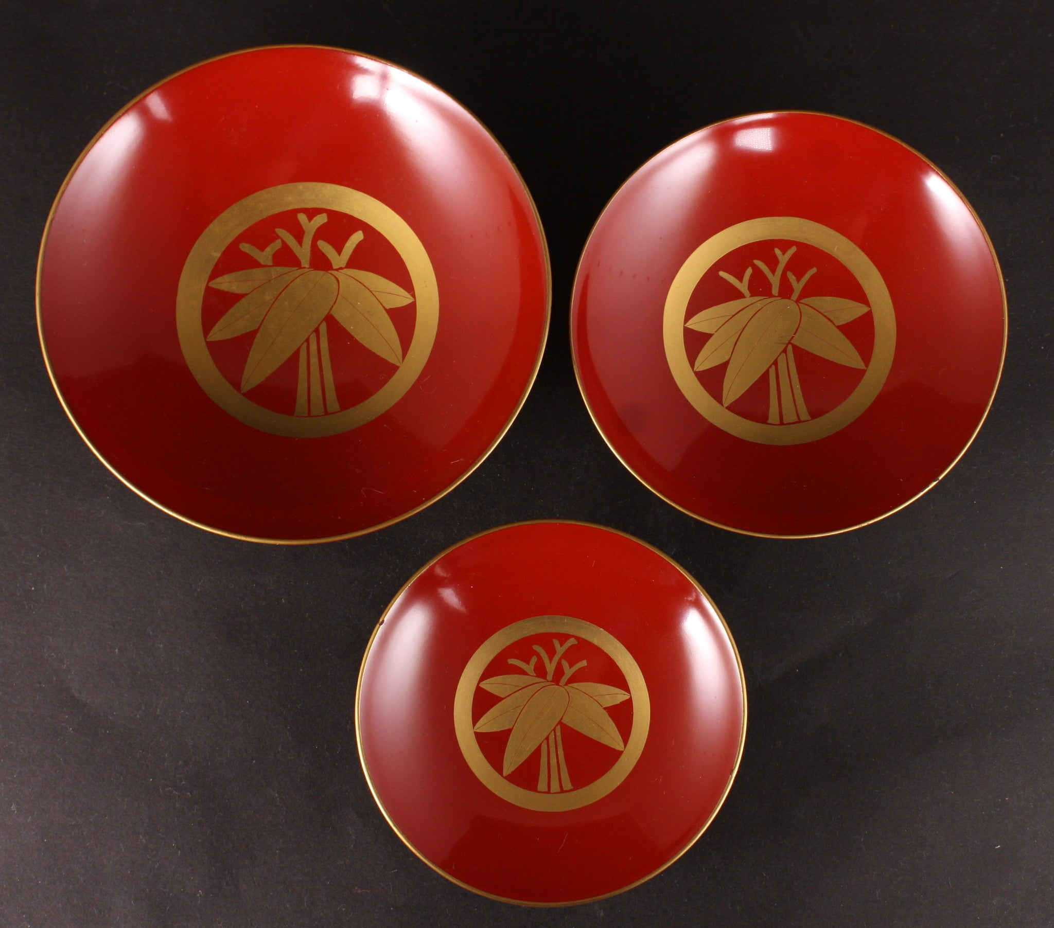 Very Rare Antique Japanese Battleship Haruna 3rd Turret Commemoration Lacquer Sake Cup Set