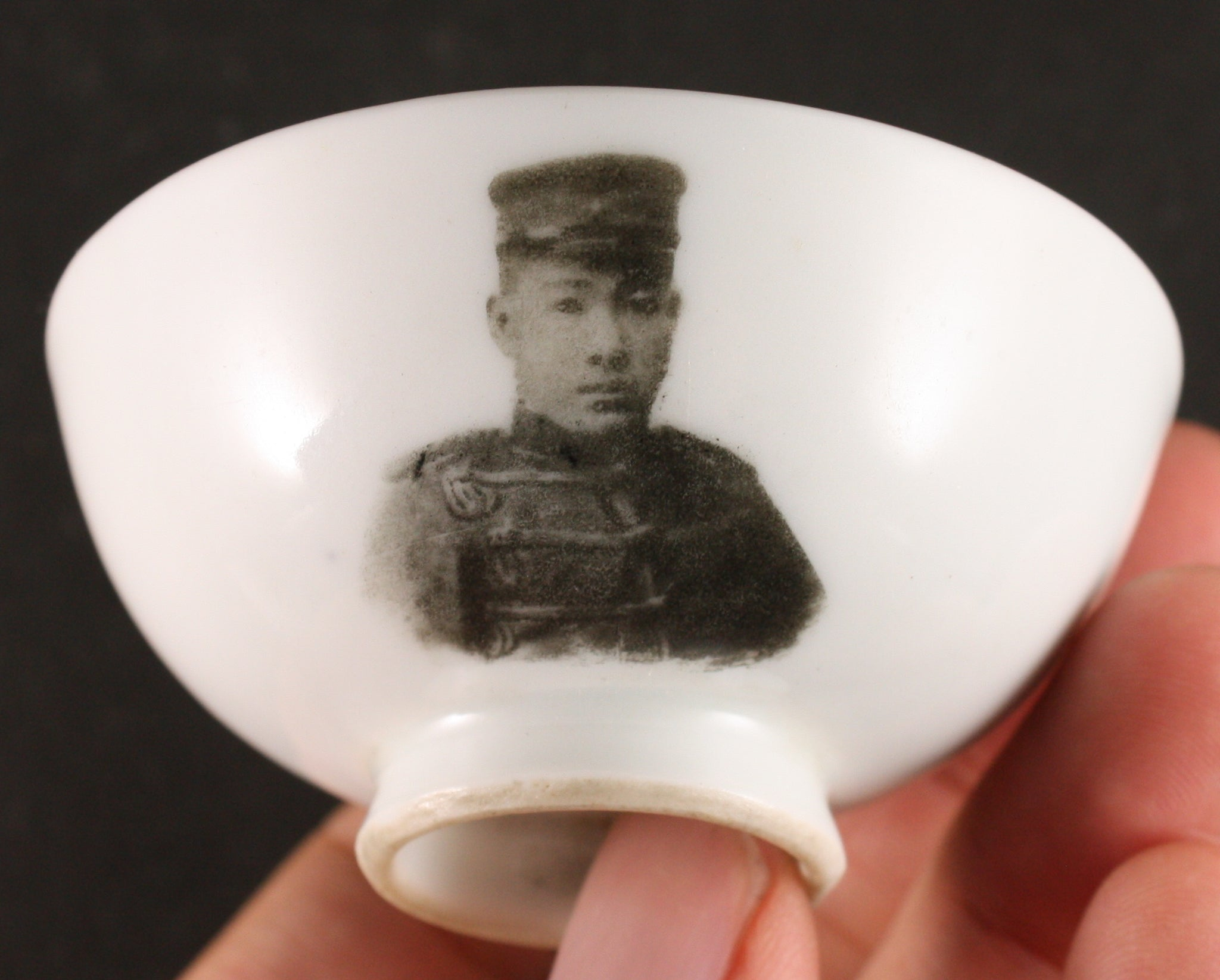Very Rare Japanese Military Meiji Era Individual Soldier Photo Transfer Victory Army Sake Cup