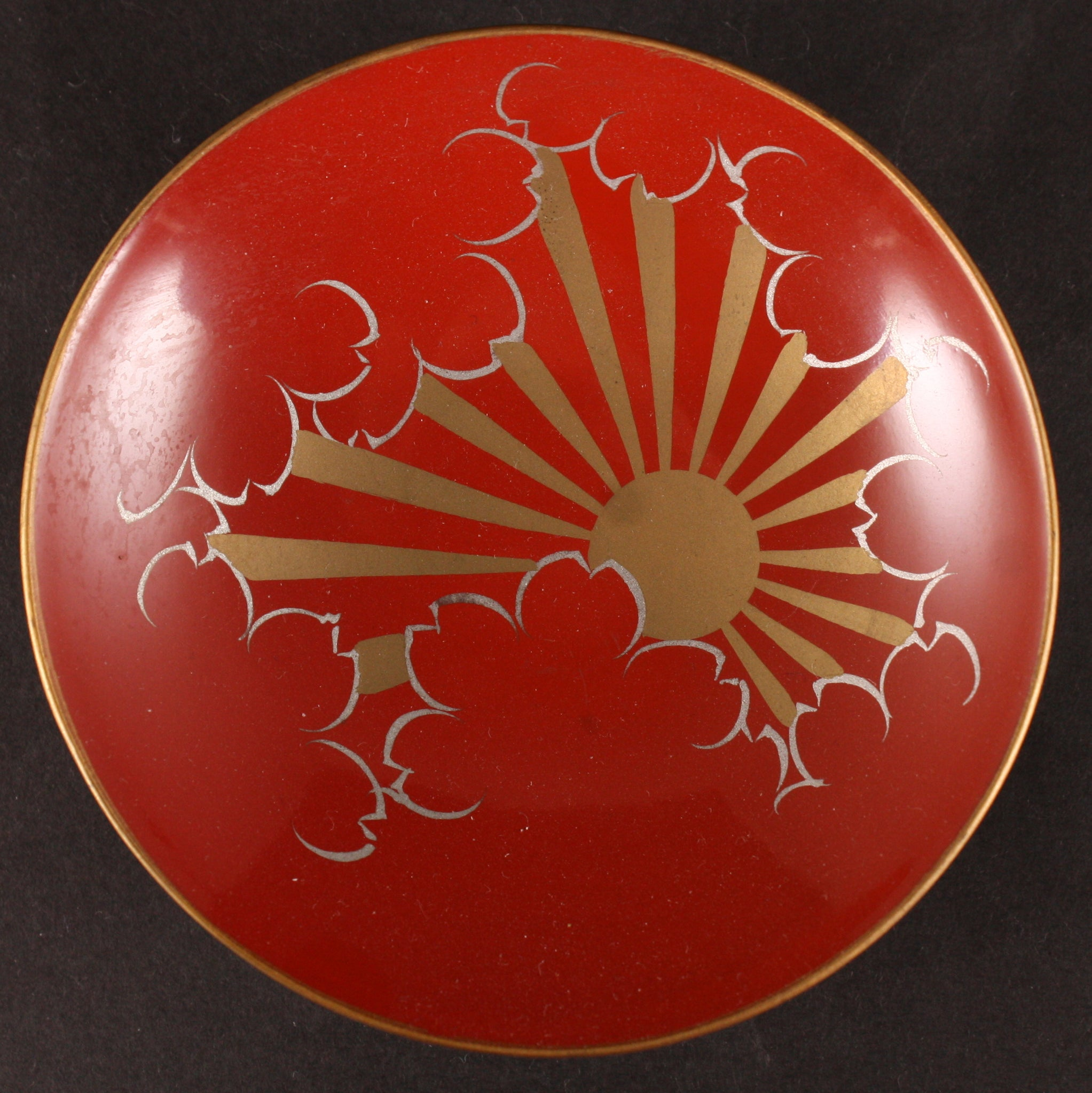 Russo Japanese War Rising Sun in Clouds Victory Lacquer Sake Cup