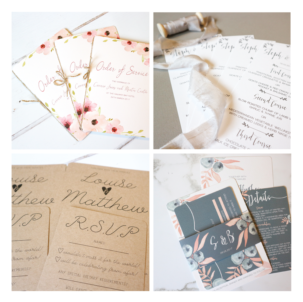 A collection of wedding invitation collections, wedding order of service and wedding menus