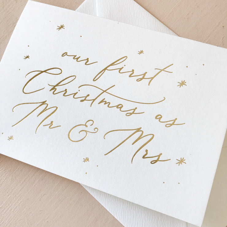 Our First Christmas as Mr & Mrs Gold Foil Card
