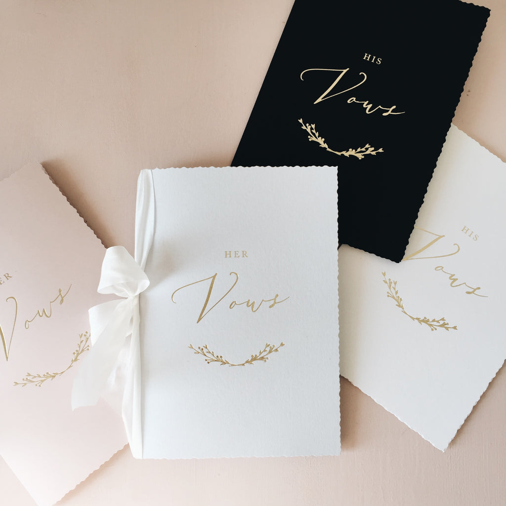 His & Her Gold Foil Vow Books