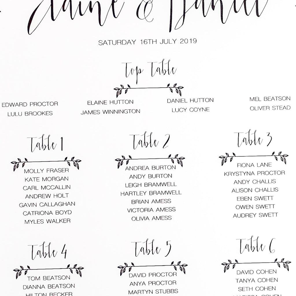 Modest Love Table Plan