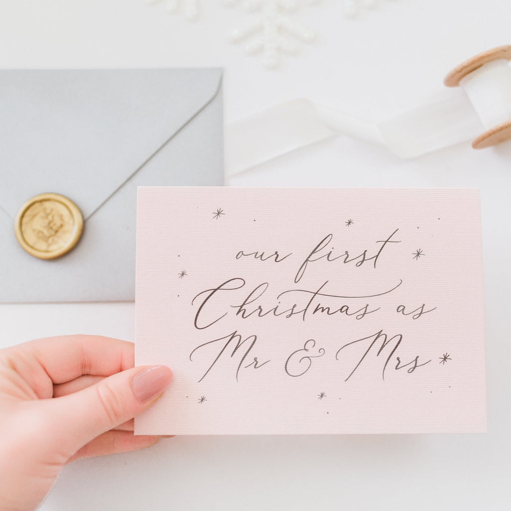 Our First Christmas as Mr & Mrs Card - Blush
