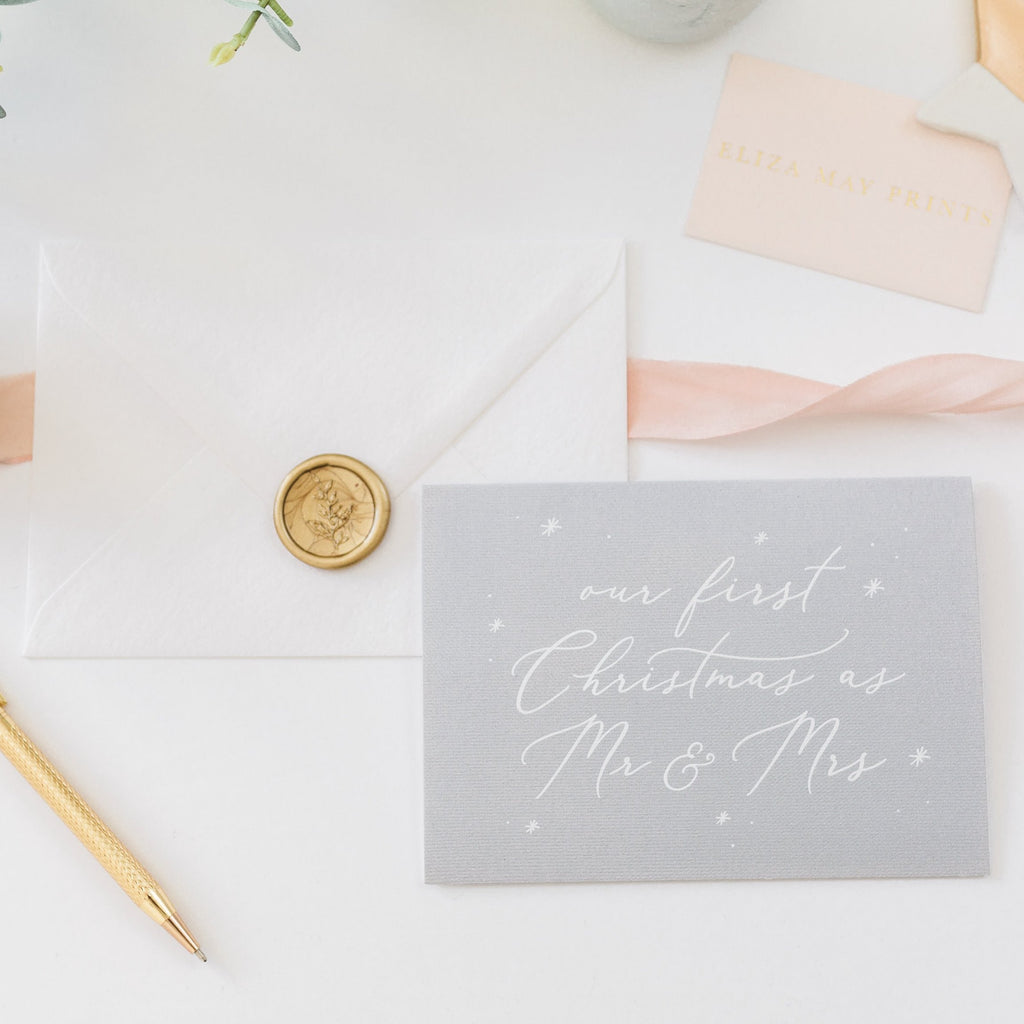 Our First Christmas as Mr & Mrs Card - Grey