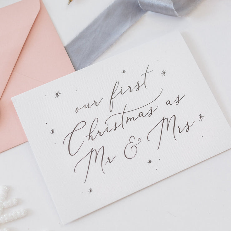 Our First Christmas as Mr & Mrs Card - White