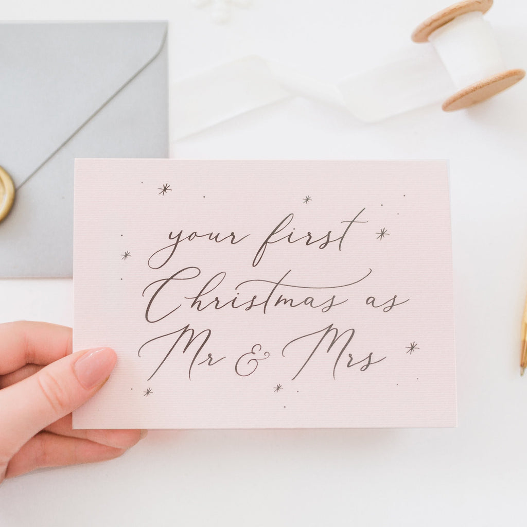 Your First Christmas as Mr & Mrs Card - Blush