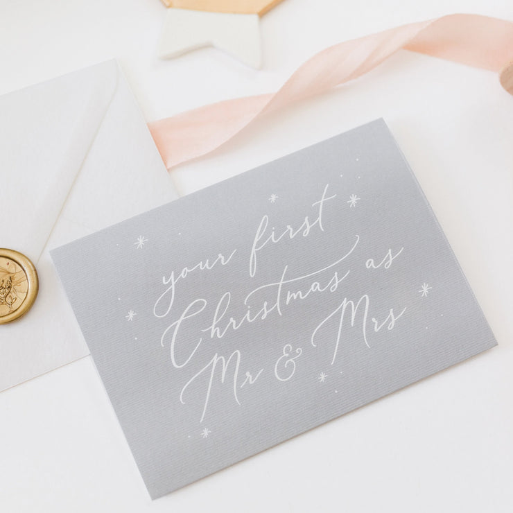 Your First Christmas as Mr & Mrs Card - Grey