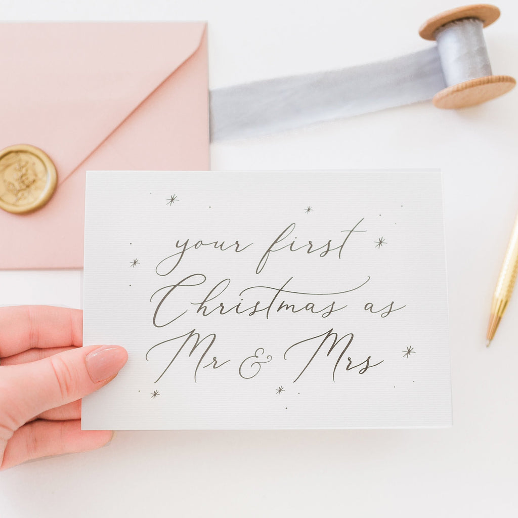 Your First Christmas as Mr & Mrs Card - White