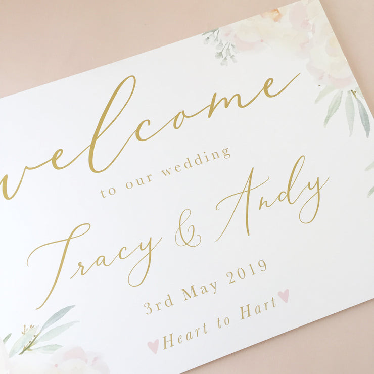 Peony Blush Welcome Sign