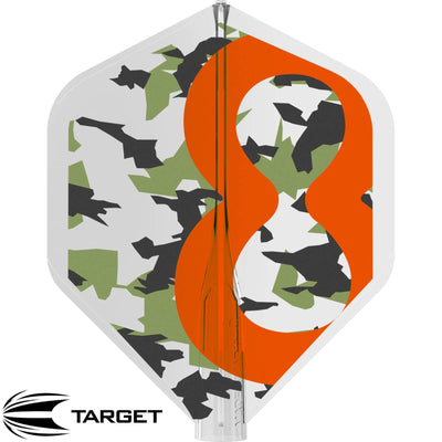 Dart Flights - Target - 8 Flight RvB Clear Camo - Big Wing Dart Flights