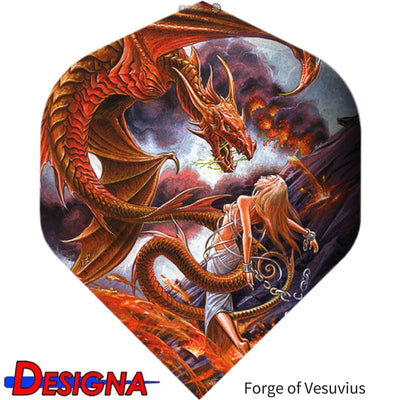 Dart Flights - Designa - Alchemy - Big Wing Dart Flights Forge of Vesuvius