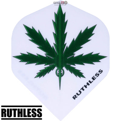 Dart Flights - Ruthless - Assorted - Big Wing Dart Flights White Green Leaf