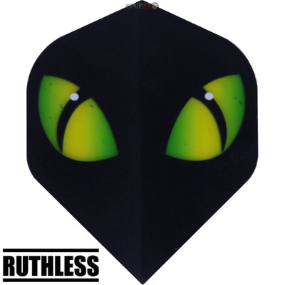 Dart Flights - Ruthless - Assorted - Big Wing Dart Flights Black Green Eyes