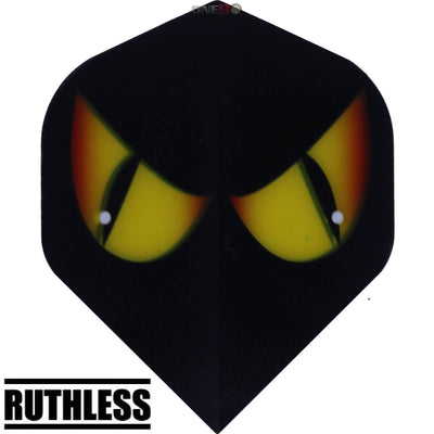 Dart Flights - Ruthless - Assorted - Big Wing Dart Flights Black Yellow Eyes