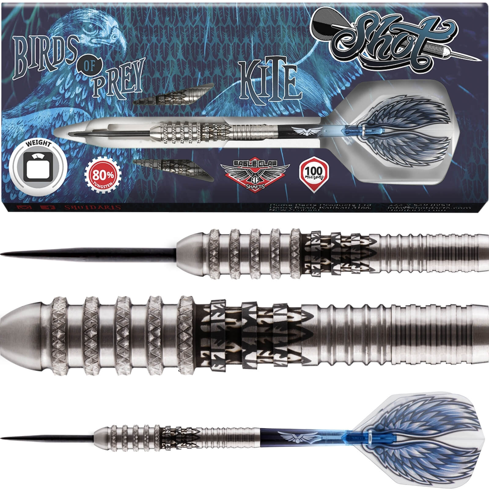 Darts - Shot - Birds of Prey Kite Darts - Steel Tip - 80% Tungsten - 21g 23g 25g
