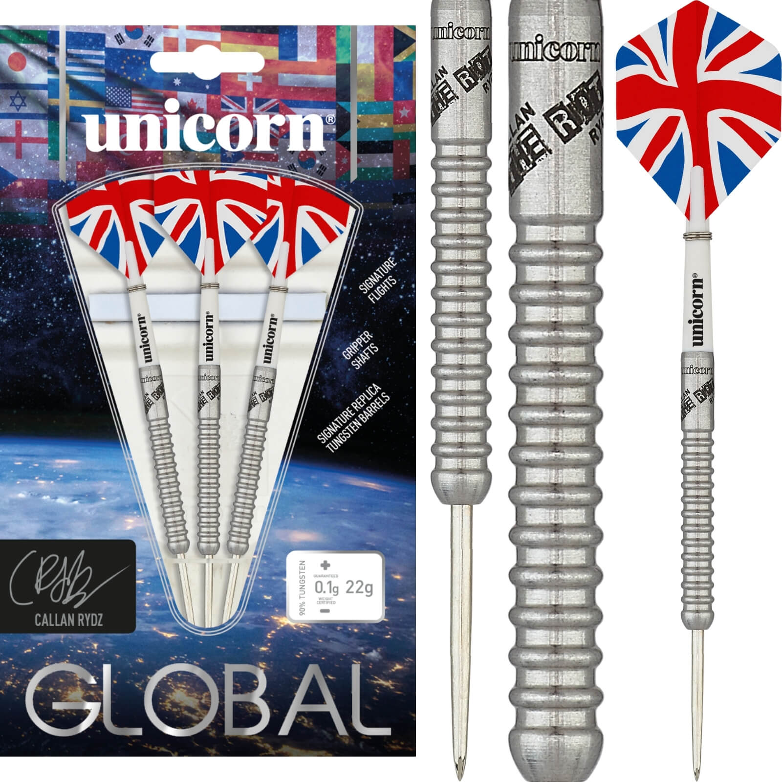 Darts - Unicorn - Callan Rydz Darts - Steel Tip - 90% Tungsten - 22g