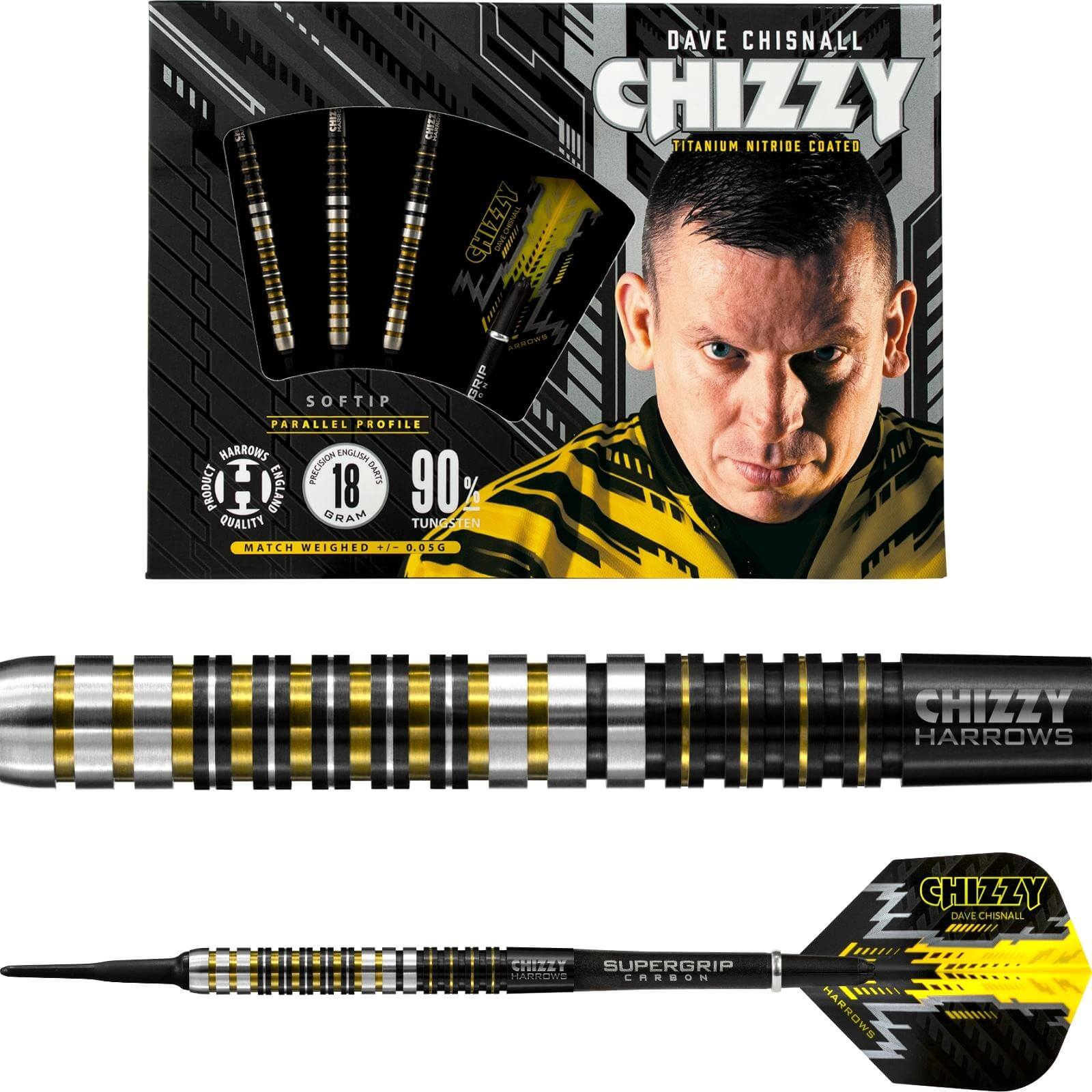 Darts - Harrows - Chizzy - Dave Chisnall Darts - Steel Tip - 90% Tungsten - 21g 22g 23g 24g 25g 26g